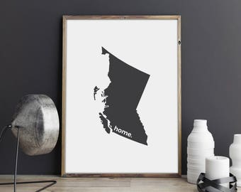 British Columbia Print, Map Art, Canada Day, Canadian Decor, Canada Decor, Modern Map Art, Home Decor, Province Print, Wall Art, Canadian