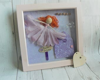 Framed Fairy picture, personalised picture, personalised fairy picture, flower fairy, fairy door, pink fairy, fairy decor, girls room decor