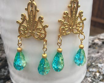 Glass Bead Chandelier Earrings