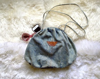 Vintage Pacific Connections denim acid wash tote or shoulder bag from the 1980's
