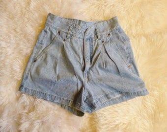 90's Vintage High Waist Denim Shorts by Grass Roots size medium