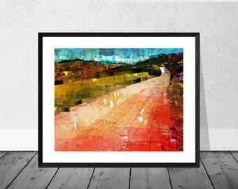 Landscape Art Print, Andalucia Art Print, Red Landscape, Andalucia, Spanish Art, Landscape Art, Home Decor, Wallart, Giclee Print, Colourful