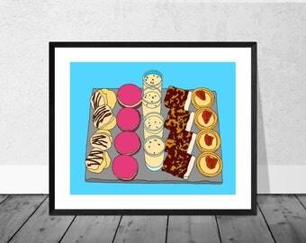 Cake Art Print, High Tea Art Print, Kitchen Illustration, Cakes, Egg Nog, Kitchen Art,Food Art Print, Decor, Kitchen Decor, Blue. Macaroons
