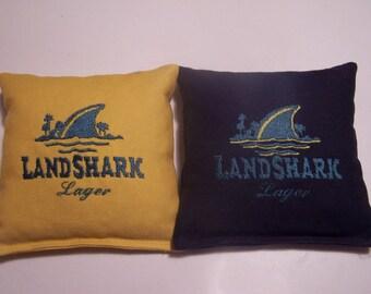 Embroidered Land Shark Lagar Cornhole Bags Set of Eight - Sweet