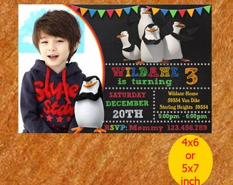 Penguin of Madagascar Birthday Invitation, Penguin Invitation, Penguin Birthday, Penguin Party, Penguin Printable, Instant Download