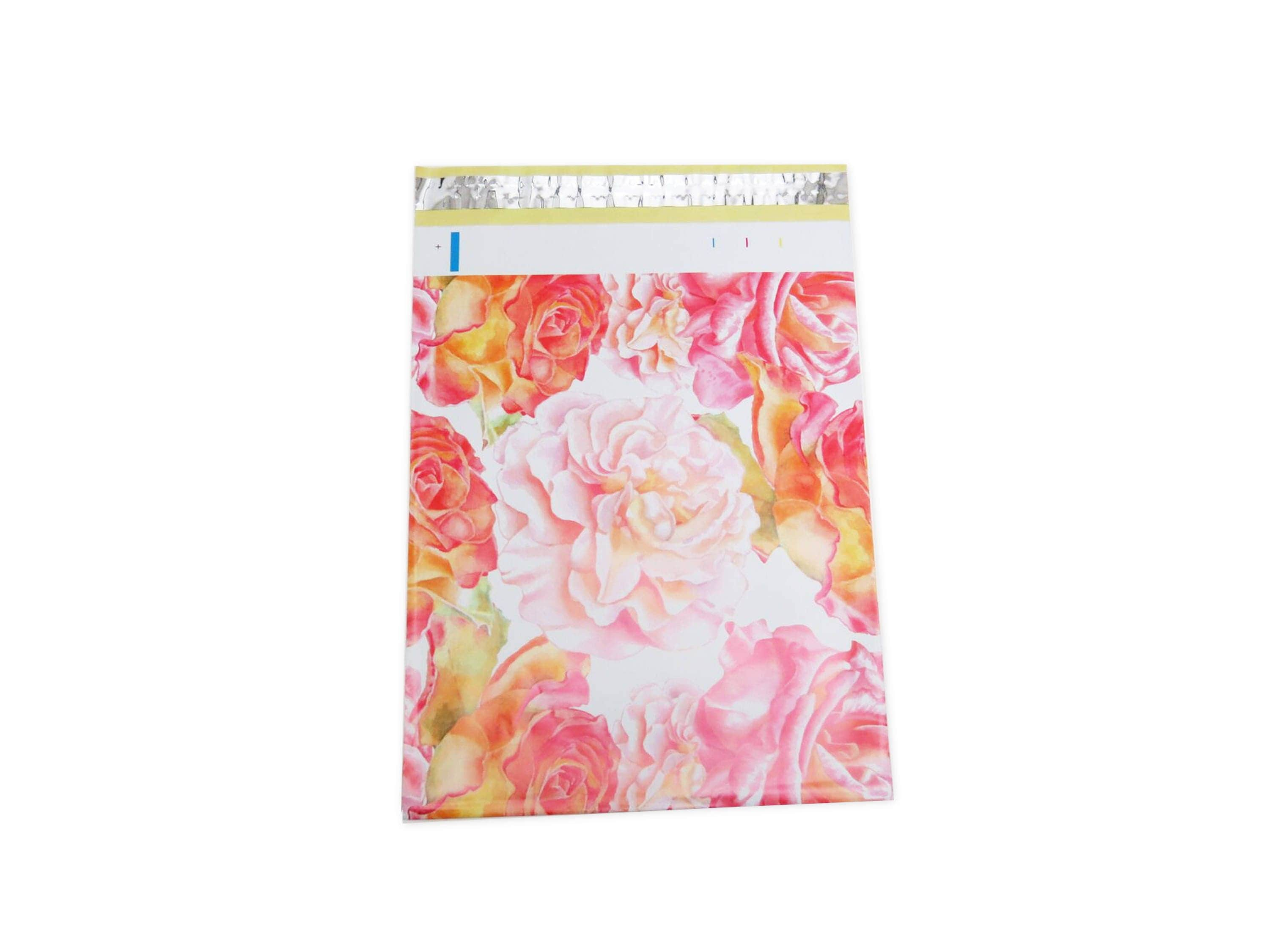100 PCS 10x13 Poly Mailers Designer Watercolor Blossom