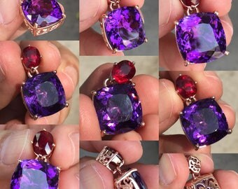 Silver Pendant with Amethyst and Ruby