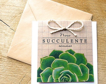 We are luscious: nature personalised card for all occasions, succulent plant Echeveria, creating eco-friendly, recycled paper