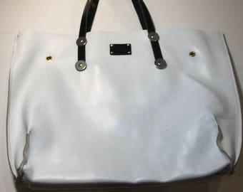 WHITE LEATHER TOTE, White summer tote, tote bag for summer.