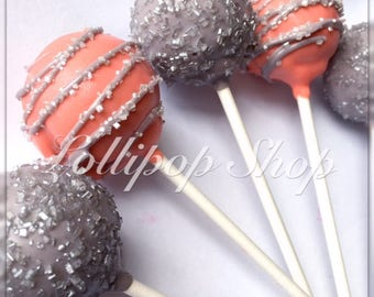 12 Coral and Gray/Silver Cake Pops (Birthday, baby shower, bridal shower, party favors)