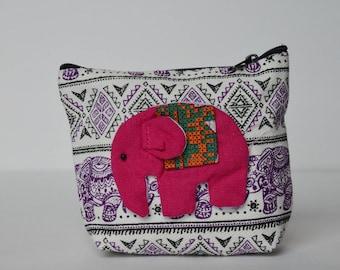 Pink on Purple Elephant coin purse
