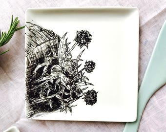 """Small porcelain square plate handpainted, original drawing titled """"Dune Briacine"""""""