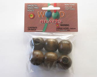 Pepperell Round Wood Beads 25mm 6 Pack Walnut