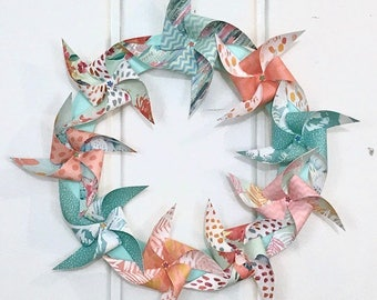 Pinwheel wreath / spring wreath / paper wreath