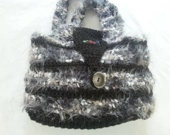 Crochet bag, black-silver with scarf