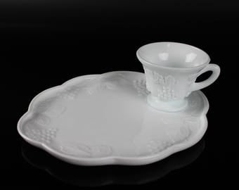 Harvest Milk Glass by Colony - Snack Plate & Punch/Snack Cup Set
