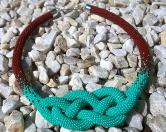 Beaded crochet necklace Mint brownie