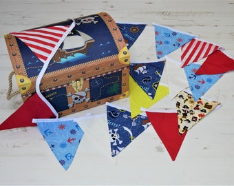 Pirate Bunting, Cotton Bunting, Boys Pirate Party Decor, Nautical Pirate Themed Party