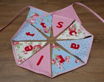 Nursery Custom Name Cath Kidston Pink Floral Girls Bunting Bedroom Decor Flower Party Decor Blue Cotton Fabric