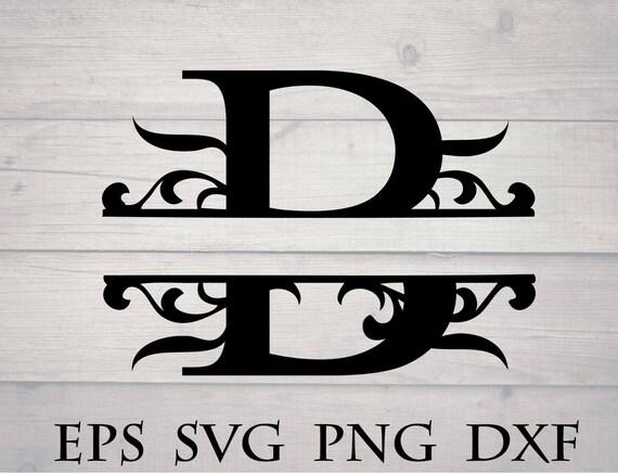 Monogram Split Letter Svg Divided Initial B Svg Swirl