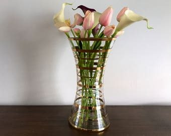 Vintage Mid Century Hollywood Regency Vase | Gold Stripe | Gold Ring | MCM Decor