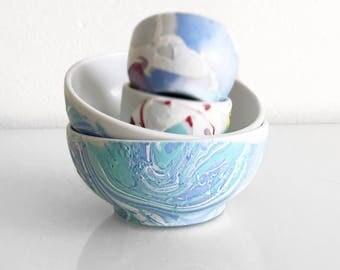 Water Inspired Modern Ceramic Mini Bowl