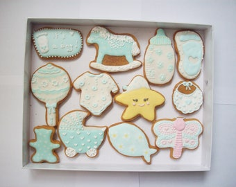 set of decorated cookies, baby shower gift,boy