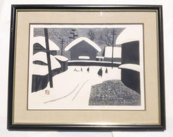 "Vintage 1958 signed KIYOSHI SAITO Japanese Woodblock Print ""Winter in Aizu"" (4)"
