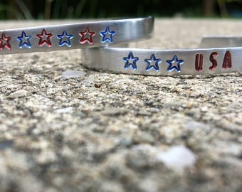 Fourth of July Bracelet Set, Red White Blue, Patriotic Jewelry Set