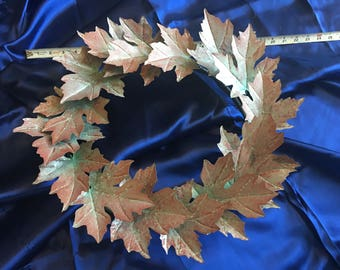"""24"""" Solid Copper Maple Leaf Wreath (Patina Finnish)"""