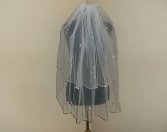 White 2 Tier Silver/Sequin Beaded Wedding Veil