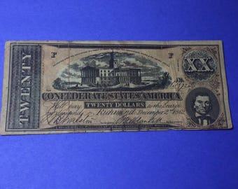 1862 Twenty Dollar Confederate Note