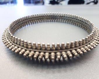 Antique Rajasthan bangle Sterling silver Spiking Amulet bracelet Cuff Bangle , Ethnic Tribal Cuff Bracelet