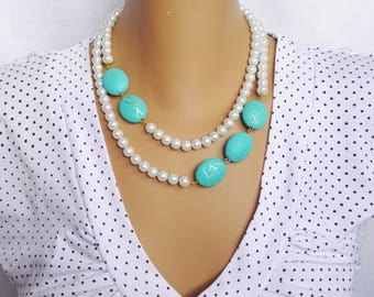 Turquoise blue, white pearl necklace, Pearl Jewelry