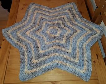 Star shaped baby blanket, handmade in blue multi