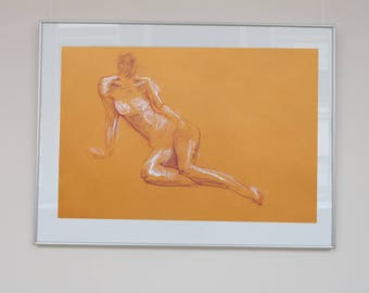 Original signed Act of drawing with pastel and chalk on orange paper, naked woman, A2, female nude, sketch