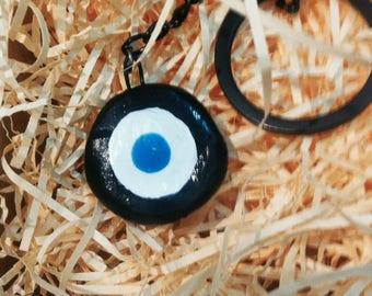handmade ceramic evil eye keyring