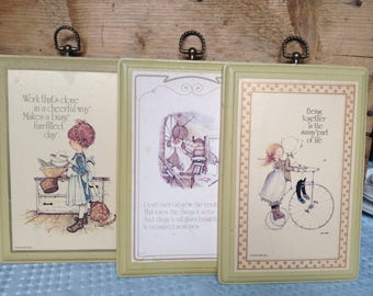 Holly Hobbie Vintage wooden soft green plaque lot (3 pieces)