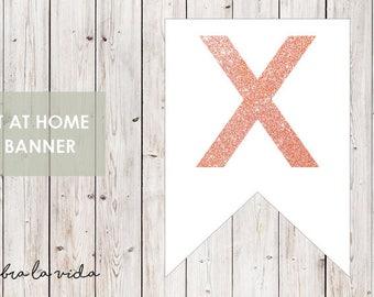 DIY Banner - 'X'. Instant Download. Printable Banner Letters. Pink Glitter. - 01