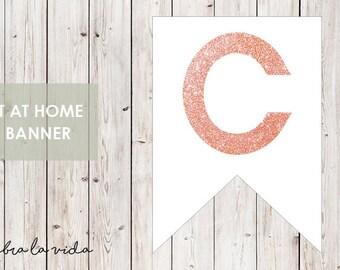 DIY Banner - 'C'. Instant Download. Printable Banner Letters. Pink Glitter. - 01
