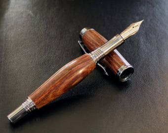 Lignum Vitae Fountain Pen in Black Titanium and Chrome with a Bock Extra Fine Polished Nib