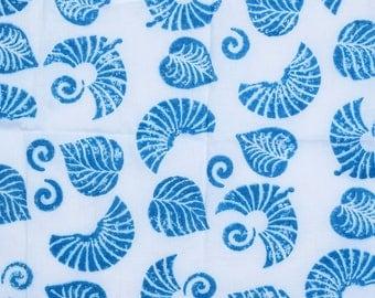 Hand block floral and leaf print,3 Color Variation Blue,Black and Red, 1 Yard