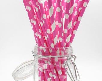Pink Paper Straws. Polka Dot Straws. Party Supplies. Drinkware.