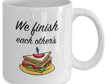 WE FINISH Each Other's SANDWICHES - Frozen Inspired Mug - Anna and Elsa - Disney Movie Film Fan Gift - 11 oz white coffee tea cup