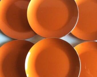 Orange Enameled Aluminum Salad Plates | EMALOX | Norway | Vintage | Midcentury Modern