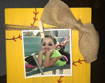 Softball wood block frame , photo block