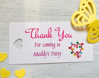 personalised birthday thank you tags (birthday heart lights)