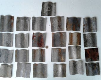 25 Pieces of Weathered Corrugated Sheet Metal From Old Texas Barn Roof - FREE SHIPPING