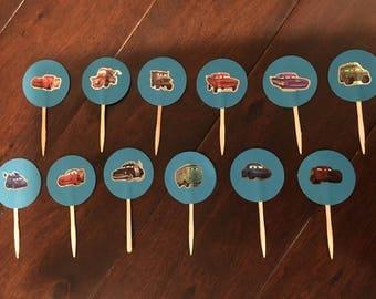 12 handmade Cars cupcake toppers