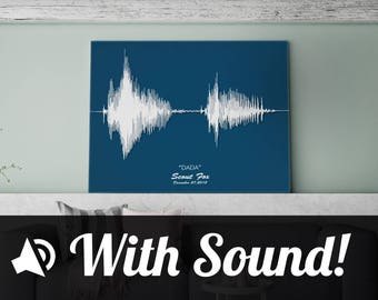 Soundwave Art - Custom-made Canvas Using Your Own Audio, w/ Push-button Audio - Baby's First Words, Wedding Vows, 'I Love You'.